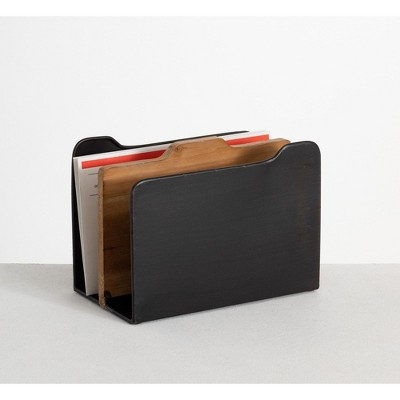 "Sullivans Upright Dual File Holder & Storage Organizer 6.9""H Black"