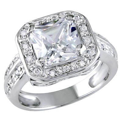 5 3/5 CT. T.W. Octagon Cubic Zirconia 4-Prong Set Engagement Ring in Sterling Silver - 7 - White