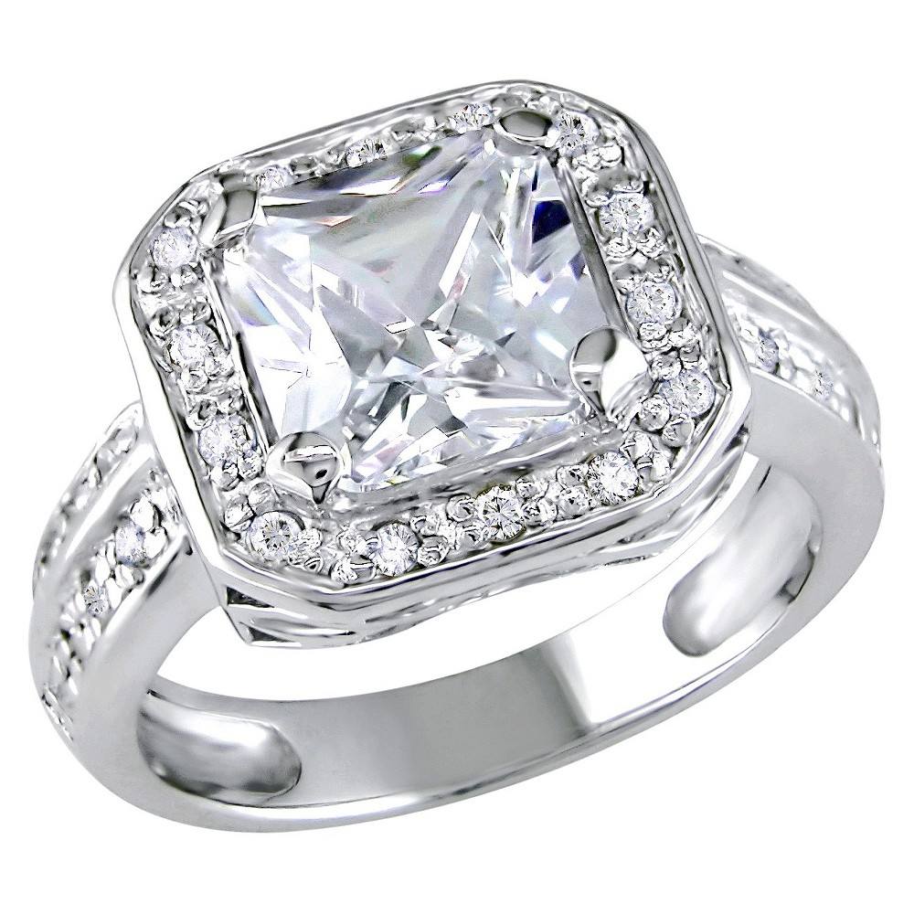 5 3/5 CT. T.W. Octagon Cubic Zirconia 4-Prong Set Engagement Ring in Sterling Silver - 5 - White