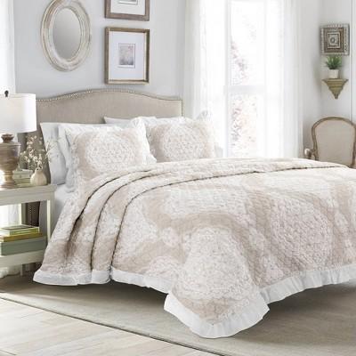 Full/Queen 3pc Lucianna Ruffle Edge Cotton Bedspread Set Taupe - Lush Décor