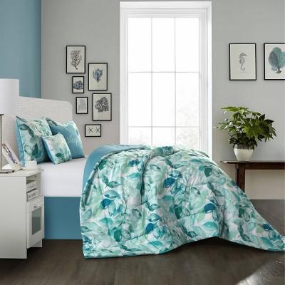 6pc Queen Samara Comforter Set with Decorative Pillows Green - Idea Nuova