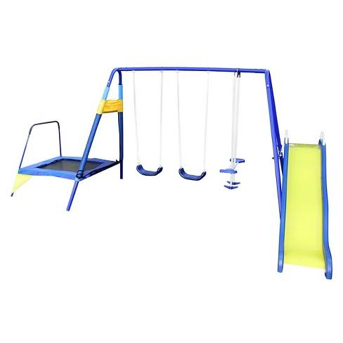 Sportspower Almansor Metal Swing Slide And Trampoline Set Blue