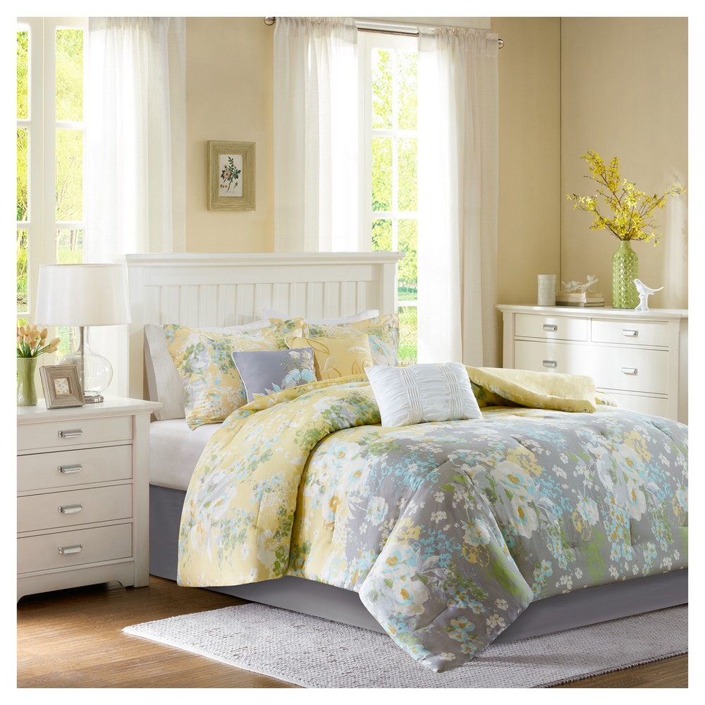 Yellow Avery Printed Comforter Set (King) 7pc