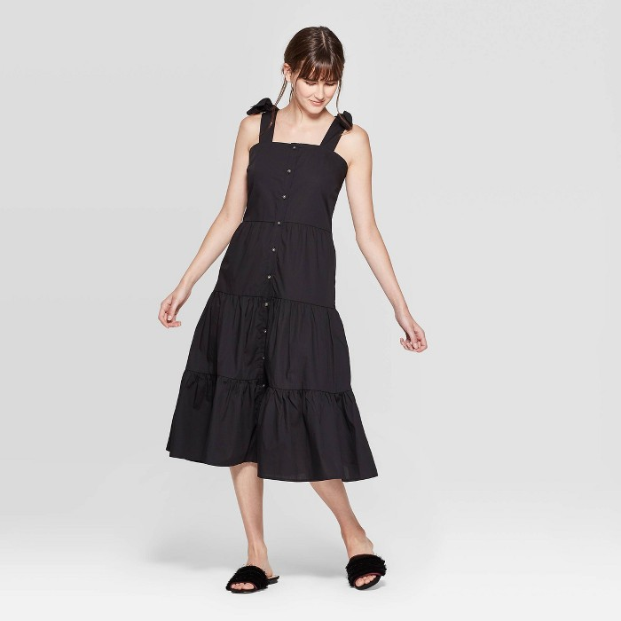 Women's Sleeveless Square Neck Tiered Button Front A Line Midi Dress - Who What Wear™ - image 1 of 3