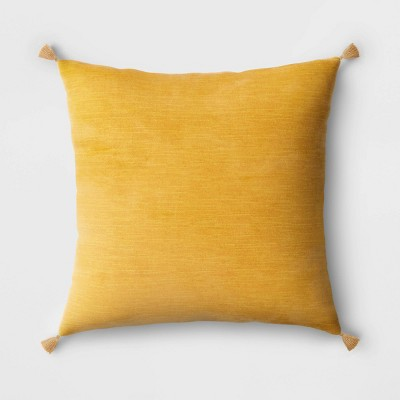 Square Velvet Throw Pillow with Tassels Yellow - Threshold™