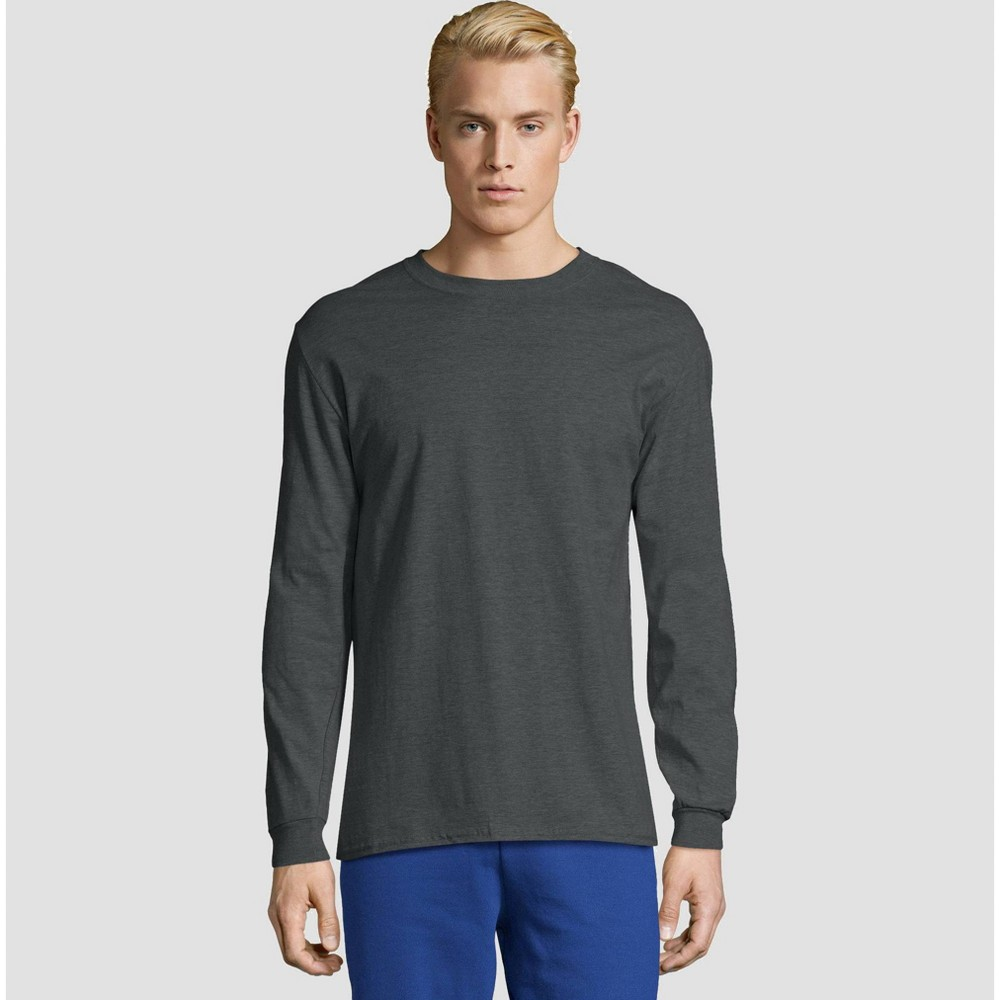 Hanes Men's Long Sleeve Beefy T-Shirt - Charcoal Heather L