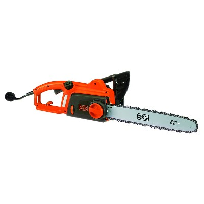 BLACK+DECKER 12  120V AC Corded Chainsaw with Tool Free Tensioning - Orange Sorbet