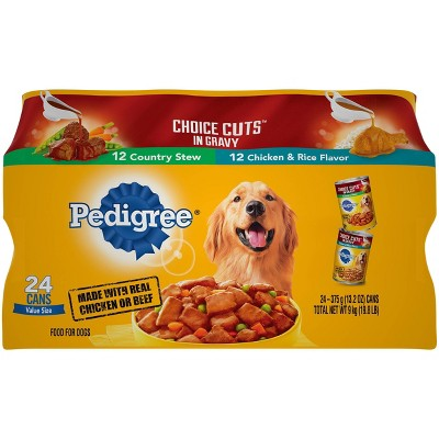 Pedigree Choice Cuts In Gravy Country Stew & Chicken & Rice Wet Dog Food - 13.2oz/24ct Variety Pack