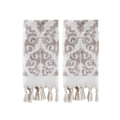 2pc Mirage Fringe Hand Towel Bath Towels Sets Dark Taupe - Saturday Knight Ltd.