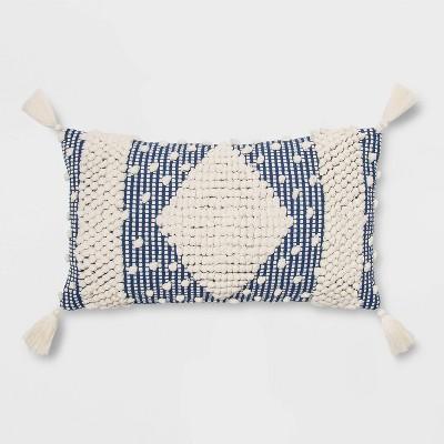 Lumbar Textured Diamond Throw Pillow Blue - Opalhouse™