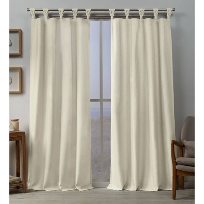 Set of 2 Loha Linen Braided Tab Top Window Curtain Panel - Exclusive Home