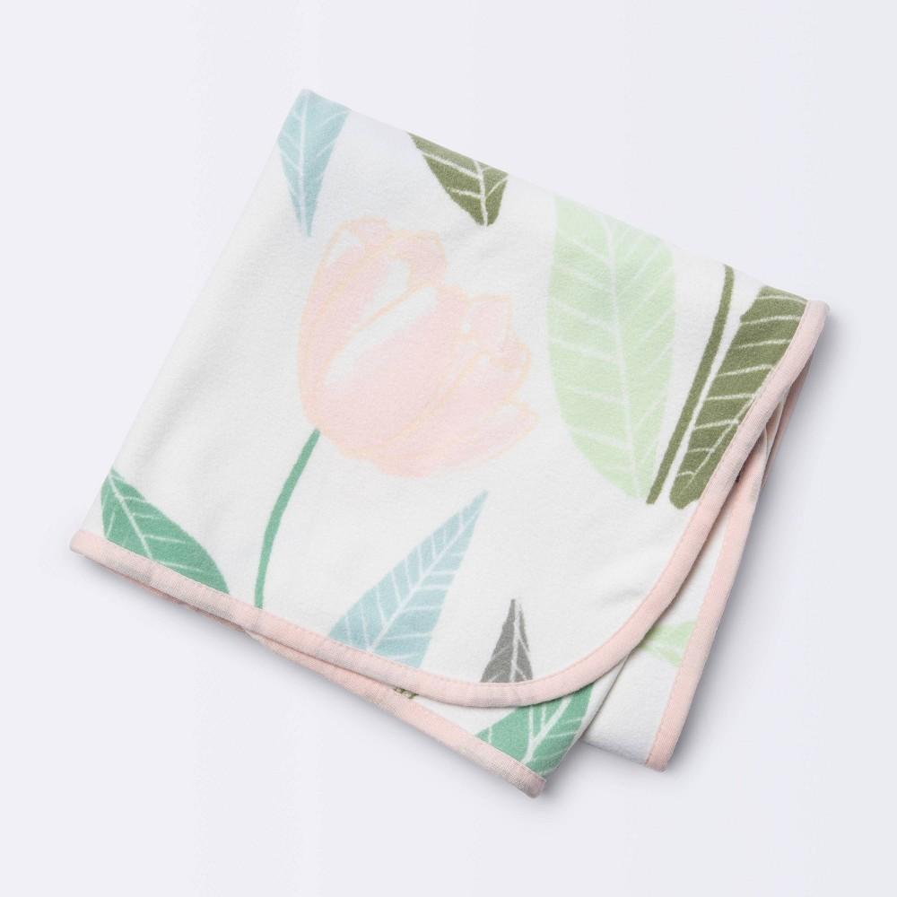 Brushed Jersey Stroller Blanket Blooms Cloud Island 8482 Pink Green