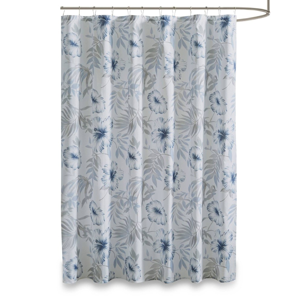 Cadenza Printed Cotton Shower Curtain Blue/White