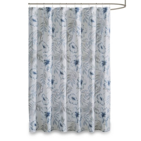 Cadenza Printed Cotton Shower Curtain Blue/White - image 1 of 4