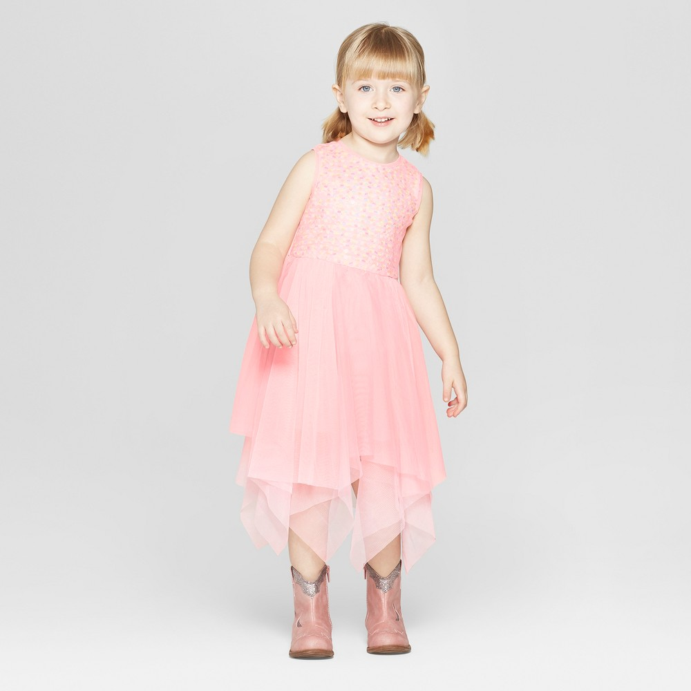Toddler Girls' Sequin A-Line Dress - Cat & Jack Pink 12M