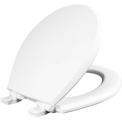 Kendall Round Enameled Wood Toilet Seat with Easy Clean and Slow Close Hinge White - Mayfair