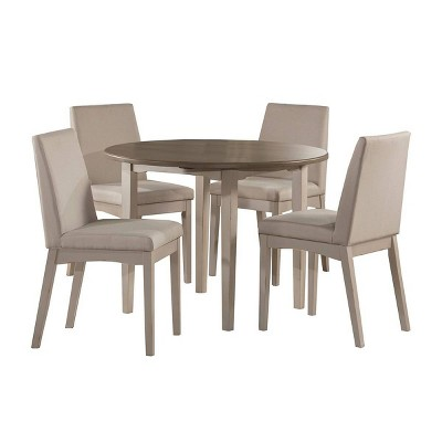 5pc Clarion Round Drop Leaf Table with 4 Upholstered Chairs Gray Fog Fabric - Hillsdale Furniture