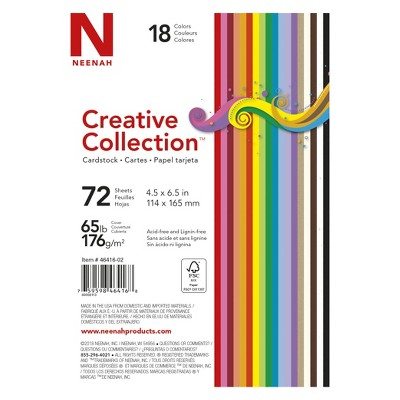 "Neenah Creative Collection 4.5"" x 6"" Cardstock 72 Sheets - 18 Colors"