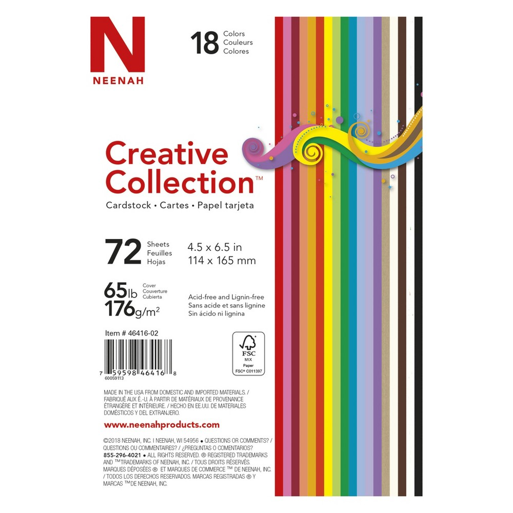 Neenah Creative Collection Specialty Cardstock Starter Kit, 4.5 x 6, 65lb., 18-Color Assortment, 72 Sheets, Multi-Colored
