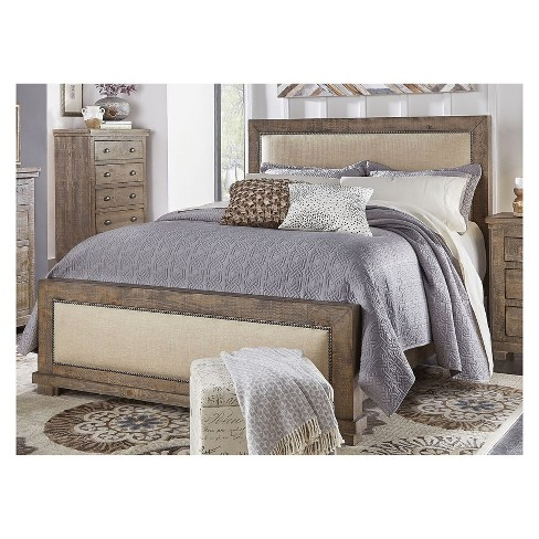 Queen Willow Upholstered Complete Bed Weathered Gray - Progressive - image 1 of 1