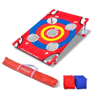 GoSports Bullseye Bounce Cornhole Toss Outdoor Backyard Lawn Game with 8 Bean Bag and Carrying Case, Red