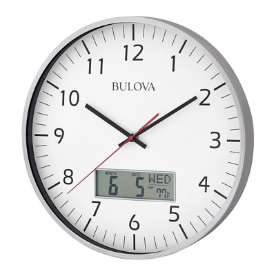 Bulova Clocks C4810 Indoor 14 Inch Manager Modern Digital Decorative Glass Hanging Wall Clock, Silver