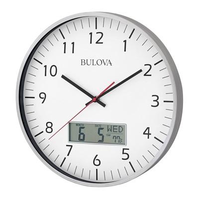Bulova Clocks C4810 Indoor 14 Inch Manager Modern Digital Decorative Glass Hanging Wall Clock, Silver
