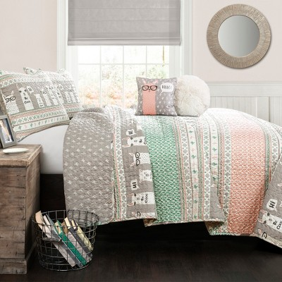 4pc Twin Llama Stripe Quilt Set with Llama Throw Pillow Pink - Lush Décor