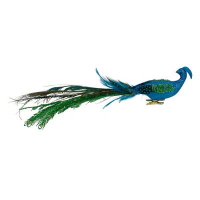 """Northlight 15.25"""" Blue and Green Glittered Peacock Clip On Christmas Ornament"""