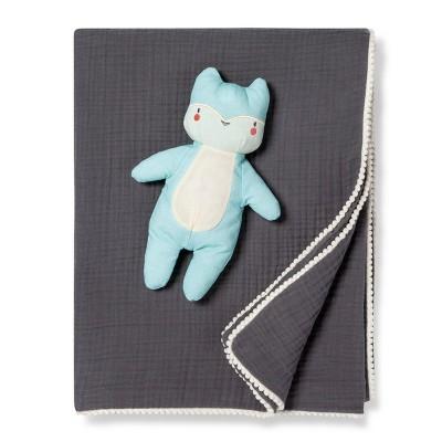 Gauze Baby Blanket & Plush Fox - Cloud Island™ Kava Coral