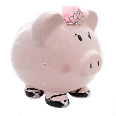 "Bank 7.75"" Princess Pig Crown Rhinestones  -  Decorative Banks"