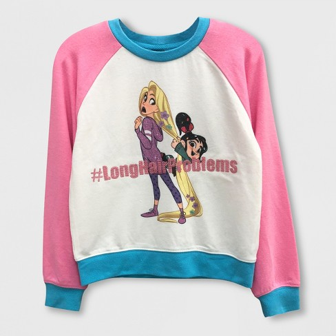 Girls' Disney Wreck-It Ralph Raglan Pullover Sweater - White/Turquoise - image 1 of 1