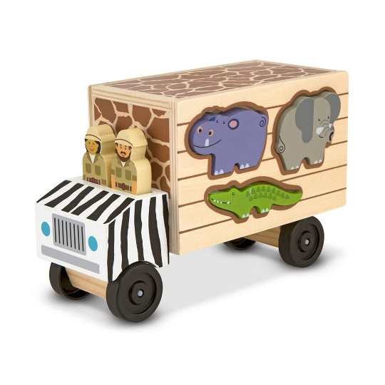 Melissa & Doug Animal Rescue Shape-Sorting Truck - Wooden Toy With 7 Animals and 2 Play Figures image number null