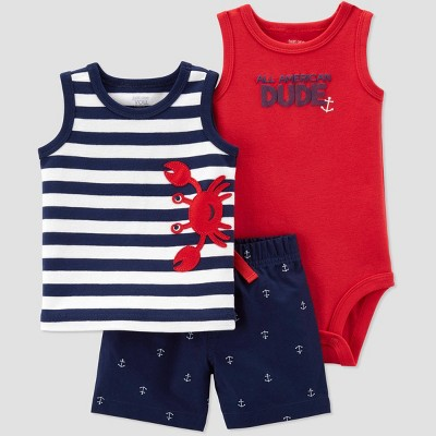 Baby Boys' 3pc Crab Embroided Stripe Top and Bottom Set - Just One You® made by carter's Red/Navy/White 3M