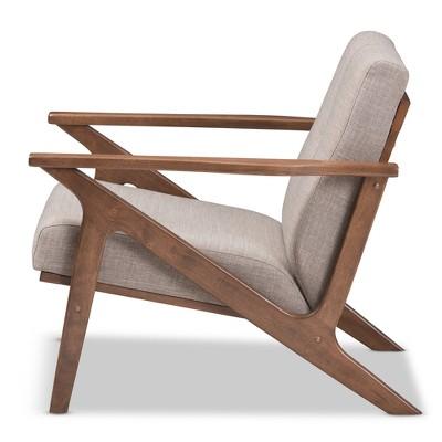 Bianca Mid Century Modern Walnut Wood Light Gray Fabric Tufted Lounge Chair Light Gray - Baxton Studio : Target