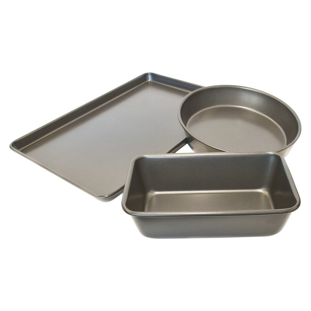 Image of Chloe's Kitchen 3pc Bakeware Set, Silver