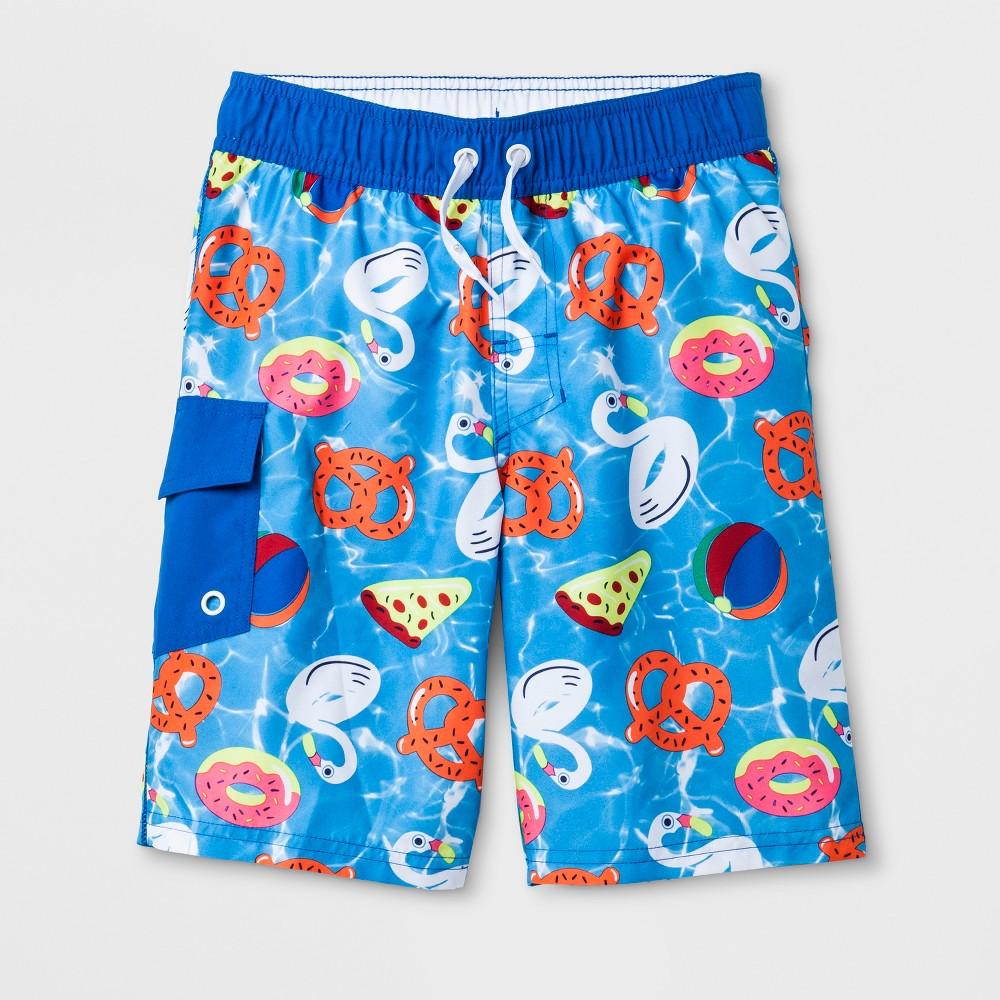 Boys' Flat Pocket Swim Trunks - Cat & Jack Blue XL Husky