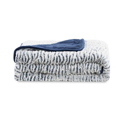"""48"""" x 72"""" Reversible Faux Fur 12lbs Weighted Throw Blanket Navy - Dream Theory"""