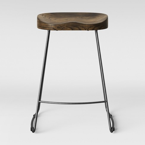 Hull Low Back Wood Metal Counter Stool