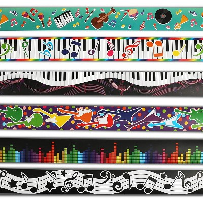 78-Piece Music Note Bulletin Board Borders, Welcome Back to School (6 Designs, 13 Stripes each)