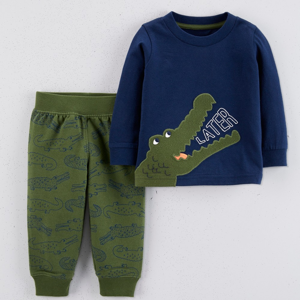 Baby Boys' 2pc Later Gator Pant Set - Just One You made by carter's Navy Blue/Green 3M