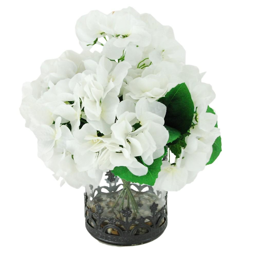 Image of Artificial Hydrangea Arrangement - White - 1ft - LCG Florals