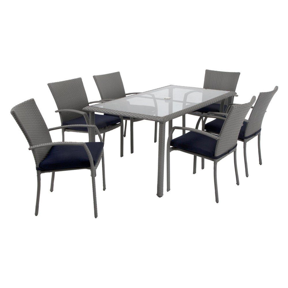 Lakewood Ranch 7pc Rectangle Steel and Wicker Patio Dining Set - Gray/Blue - Cosco Outdoor Living
