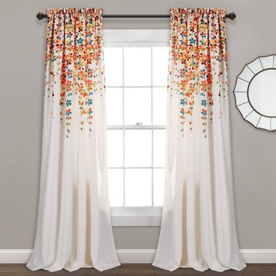 """Set of 2 (108""""x52"""") Weeping Flower Light Filtering Window Curtain Panels Turquoise - Lush Décor"""
