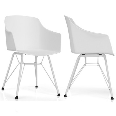 Costway Set of 2 Dining Chair Modern Molded Shell Plastic Seat Metal Frame White