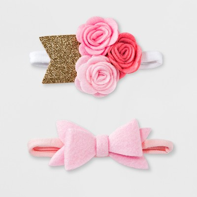 Baby Girls' 2pk Bow Headband Set - Cloud Island™ Pink