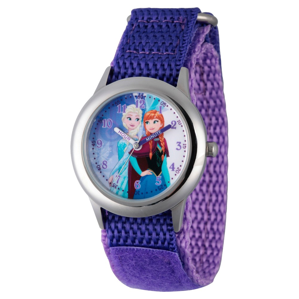 Girls' Disney Frozen Anna and Elsa Stainless Steel Time Teacher Watch - Purple
