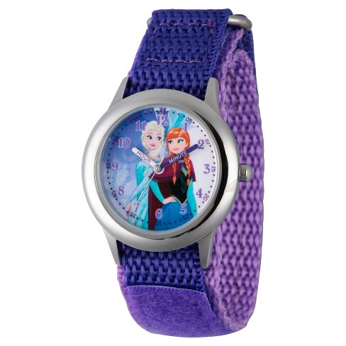 Girls' Disney Frozen Anna and Elsa Stainless Steel Time Teacher Watch - Purple - image 1 of 1