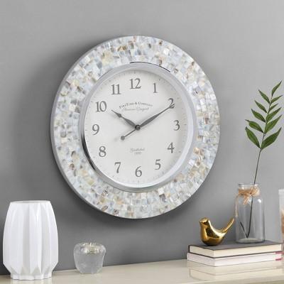 Vivien Pearl Mosaic Clock Ivory - FirsTime