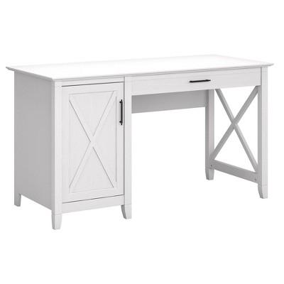 54W Key West Computer Desk with Storage Pure White Oak - Bush Furniture